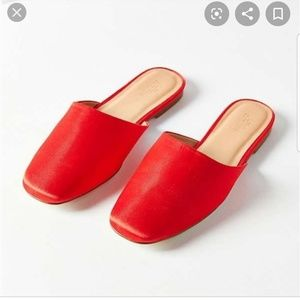 Urban Outfitters Red Satin Mules